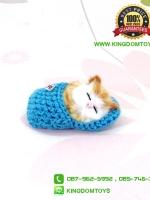 ตุ๊กตาแมวเหมือนจริงนอนหลับในรองเท้าไหมพรม สีฟ้า 10 CM