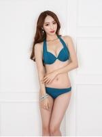 ชุดว่ายน้ำบิกินี่ทูพีช สีน้ำเงินสวย (บรา+กางเกงบิกินี่)