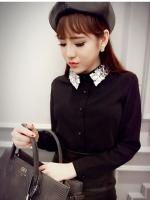 [รหัส B5903] เสื้อผ้าแฟชั่นพร้อมส่ง เสื้อแขนยาวแฟชั่น ผ้า Chiffon pearl ปักเพชร ที่ปกเสื้อ มีกระดุมหน้า แบบสวม สีดำ