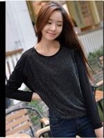 [รหัส B44163] เสื้อผ้าแฟชั่นพร้อมส่ง เสื้อแขนยาวแฟชั่น ผ้า Modal cotton แบบสวม สีดำ