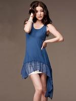 [รหัส BB77121] เสื้อผ้าแฟชั่นพร้อมส่ง เสื้อตัวยาวแฟชั่น ผ้า Cotton แต่งชายเสื้อด้วยผ้าชีฟอง สีฟ้า (สินค้าจริงสีสว่างกว่าในรูป)