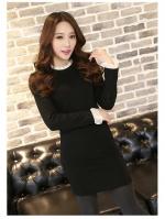 [รหัส B6768] เสื้อผ้าแฟชั่นพร้อมส่ง เดรสแฟชั่นผ้า Cotton + Spandax ตัดต่อ ผ้าชีฟองที่คอ และ แขนเสื้อ แบบสวม สีดำ