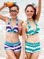 ชุดว่ายน้ำบิกินี่ทูพีช สีเขียว สไตล์สปอตเกิร์ล กางเกงขาสั้น ลายขวางสลับสีสวย
