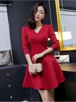 [รหัส MR8068] เสื้อผ้าแฟชั่นพร้อมส่ง เดรสแฟชั่น ผ้า Cotton + Spandax มีซิปซ่อนด้านหลัง สีแดงสด Size M (สีสินค้าจริงภาพสุดท้าย)