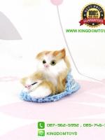 ตุ๊กตาแมวเหมือนจริงในรองเท้าแตะสีฟ้า 10 CM