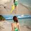 ชุดว่ายน้ำเอวสูง สีเขียว แต่งลายผ้าซีทรูสวยๆ thumbnail 4