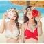 ชุดว่ายน้ำบิกินี่ทูพีช บราสีแดง+บิกินี่ลายดอกกุหลาบแดงสวยๆ thumbnail 3