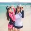 ชุดว่ายน้ำแขนยาว กางเกงขาสั้นสีชมพูบานเย็นสวยๆ thumbnail 3