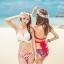 ชุดว่ายน้ำบิกินี่ทูพีช บราสีแดง+บิกินี่ลายดอกกุหลาบแดงสวยๆ thumbnail 2