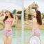 ชุดว่ายน้ำเอวสูง สีชมพูสวยลายดอกไม้ ขายพร้อมชุดคลุมตาข่าย (เซ็ต 3 ชิ้น บรา+กางเกง+ชุดคลุม) thumbnail 2