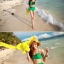 ชุดว่ายน้ำเอวสูง สีเขียว แต่งลายผ้าซีทรูสวยๆ thumbnail 2