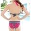 ชุดว่ายน้ำบิกินี่ทูพีช สีชมพู โบฮีเมียน สายคล้องคอสวยๆ thumbnail 2