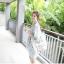 [รหัส BB7186] เสื้อผ้าแฟชั่นพร้อมส่ง เดรสแฟชั่น ผ้าฝ้ายพิมพ์ลายดอกไม้น่ารักสีขาว แบบสวม ชุดสีกรมท่า thumbnail 2