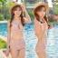 -- สีชมพูอ่อน -- ชุดว่ายน้ำเอวสูง ลายดอกไม้สวยๆ thumbnail 1