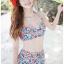 ชุดว่ายน้ำเอวสูง ลายดอกไม้สีน้ำเงินแดงสวยๆ thumbnail 1