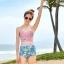 ชุดว่ายน้ำเอวสูง สีชมพู ลายดอกไม้สวยๆ thumbnail 3