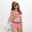 ชุดว่ายน้ำเอวสูง สีชมพู แต่งลายผ้าซีทรูสวยๆ thumbnail 1