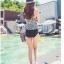 ชุดว่ายน้ำเอวสูง เสื้อทรง Tankini ลายขาวดำสวย thumbnail 2