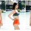 ชุดว่ายน้ำเอวสูง บราสีเขียวเข้มแต้มจุดส้ม กางเกงสีส้มสดใส thumbnail 2