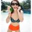 ชุดว่ายน้ำเอวสูง บราสีเขียวเข้มแต้มจุดส้ม กางเกงสีส้มสดใส thumbnail 4