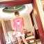 [รหัส PP71216] เสื้อผ้าแฟชั่นพร้อมส่ง เสื้อคลุมแขนยาวแฟชั่น ผ้า Chiffon Pearl ตัดต่อลุกไม้ที่แขนเสื้อ มีกระดุมหน้า แบบสวม สีชมพูอ่อน thumbnail 4