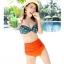 ชุดว่ายน้ำเอวสูง บราสีเขียวเข้มแต้มจุดส้ม กางเกงสีส้มสดใส thumbnail 3