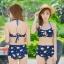 -- สีน้ำเงิน -- ชุดว่ายน้ำเอวสูง ลายดอกไม้สวยๆ thumbnail 1