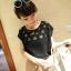 [รหัส B77402] เสื้อผ้าแฟชั่นพร้อมส่ง เสื้อแฟชั่น ผ้าชีฟอง ฉลุลายดอกไม้ แบบสวม สีดำ (ไม่รวมเสื้อตัวใน) thumbnail 1