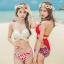[พร้อมส่ง]ชุดว่ายน้ำบิกินี่ทูพีช บราสีขาว+บิกินี่ลายดอกกุหลาบแดงสวยๆ thumbnail 7