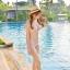 -- สีชมพูอ่อน -- ชุดว่ายน้ำเอวสูง ลายดอกไม้สวยๆ thumbnail 4