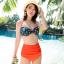 ชุดว่ายน้ำเอวสูง บราสีเขียวเข้มแต้มจุดส้ม กางเกงสีส้มสดใส thumbnail 1