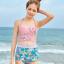 ชุดว่ายน้ำเอวสูง สีชมพู ลายดอกไม้สวยๆ thumbnail 1