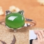 แหวนหัวหยก nephrite สีเขียวมรกต แมวหยกนำโชค