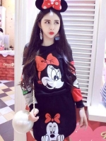 ++สินค้าพร้อมส่งค่ะ++ชุดเซ็ทเกาหลี เสื้อคอกลม แขนยาว ปัก Minnie ด้านหน้าเสื้อและกระโปรงน่ารัก มี 3 สีค่ะ สี ดำ