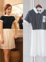 H&Y ++สินค้าพร้อมส่งค่ะ++ชุดเดรสเกาหลี คอปก แขนสั้น ผ้า cotton เนื้อดีจั้มเอวแบบยางยืดกระโปรงพลีทรอบตัวน่ารัก – สีเทา