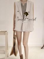 พร้อมส่งเสื้อคลุม เสื้อสูทแขนกุด นื้อผ้าคอตตอน เนื้อสวยดูแพง เนื้อเกรด Premium Quality  นะคะ เนื้อผ้าขึ้นทรงสวย เก๋ Smartๆ ด้วยทรงสูทแขนกุด อินเทรนด์แบบ Autumn Winter สาวๆMix&Match ได้หลายแบบนะคะ สาวๆ ใส่ Match กับกางเกงสีเหมือนตัวเสื้อ หรือ จะใส่คลุมทับก