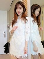 Minshop ++สินค้าพร้อมส่งค่ะ++ชุดเดรสเกาหลี คอกลม แขนยาว ผ้าลูกไม้ลายดอกใหญ่มีซับในอย่างดีค่ะ ดีไซด์เจ้าหญิงสวยหวาน – สีขาว