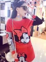 ++สินค้าพร้อมส่งค่ะ++ชุดเซ็ทเกาหลี เสื้อคอกลม แขนยาว ปัก Minnie ด้านหน้าเสื้อและกระโปรงน่ารัก มี 3 สีค่ะ สีแดง