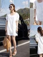 Cherry Dress ++สินค้าพร้อมส่งค่ะ++ชุดเดรสเกาหลี คอกลม แขนสามส่วน สไตล์แขนตุ๊กตา ผ้า cotton blend เนื้อดีค่ะ แต่งฉลุลายทั้งตัว – สีขาว