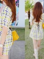 Partysu ++สินค้าพร้อมส่งค่ะ++ ชุดเดรสเกาหลี คอกลม แขนสั้น ผ้า mess พิมพ์ลายเนื้อดี แต่งหลัง V ผูกเก๋มากค่ะ มี 2 สีค่ะ – สีเหลือง