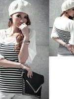 ++สินค้าพร้อมส่งค่ะ++เสื้อแฟชั่นเกาหลี คอกลม แขนสามส่วน ผ้า cotton ลายริ้ว แต่งแขนผ้าชีฟอง สีขาวดำ