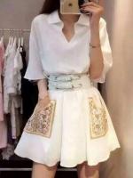 ++สินค้าพร้อมส่งค่ะ++ชุดเดรสเกาหลี คอ V แขนยาว ผ้าชีฟองเนื้อดี สไตล์ Vintage แต่งปักกระเป๋าและเข็มขัดแสนเก๋ 1 เส้น สีขาว