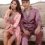 Pre Order ชุดนอนผ้าไหมแฟชั่นเกาหลี เสื้อคลุมแขนยาวผูกเอว+กางเกงขายาว สีตามรูป thumbnail 1