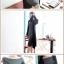 Pre Order ชุดเดรสผ้าฝ้ายถัก สไตล์เกาหลี แขนยาวคอปาดเซกซี่ thumbnail 4