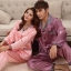 Pre Order ชุดนอนผ้าไหมคู่รัก เสื้อเชื้ตแขนยาวคอปก แต่งสลับสี+กางเกงขายาว แนวเกาหลี สีตามรูป thumbnail 1