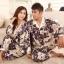 Pre Order ชุดนอนคู่รัก ทำจากผ้าไหม ดีไซน์เรียบหรู เสื้อแขนยาว+กางเกงขายาว สีตามรูป thumbnail 1