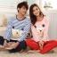 Pre Order ชุดนอนคู่รักสไตล์เกาหลี เสื้อแขนยาวคอกลมลายขวาง พิมพ์ลาย+กางเกงขายาว thumbnail 1