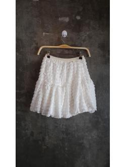 กระโปรงผ้าคอตตอนสีขาวฟรุ้งฟริ้งระบายชั้นๆผ้านิ่มมาก