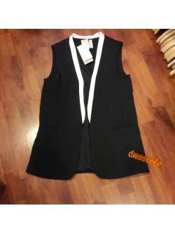 blazerแขนกุดสีดำขลิบขาว เสื้อคลุมเก๋ๆ เสื้อนำเข้า