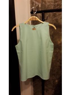 เสื้อชีฟองเนื้อทรายแขนกุดสีเขียวมิ้นต์